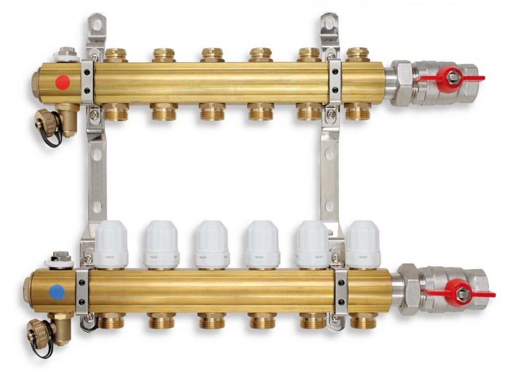 Rozdělovač s regulačními a uzavíracími ventily 10 okruhů