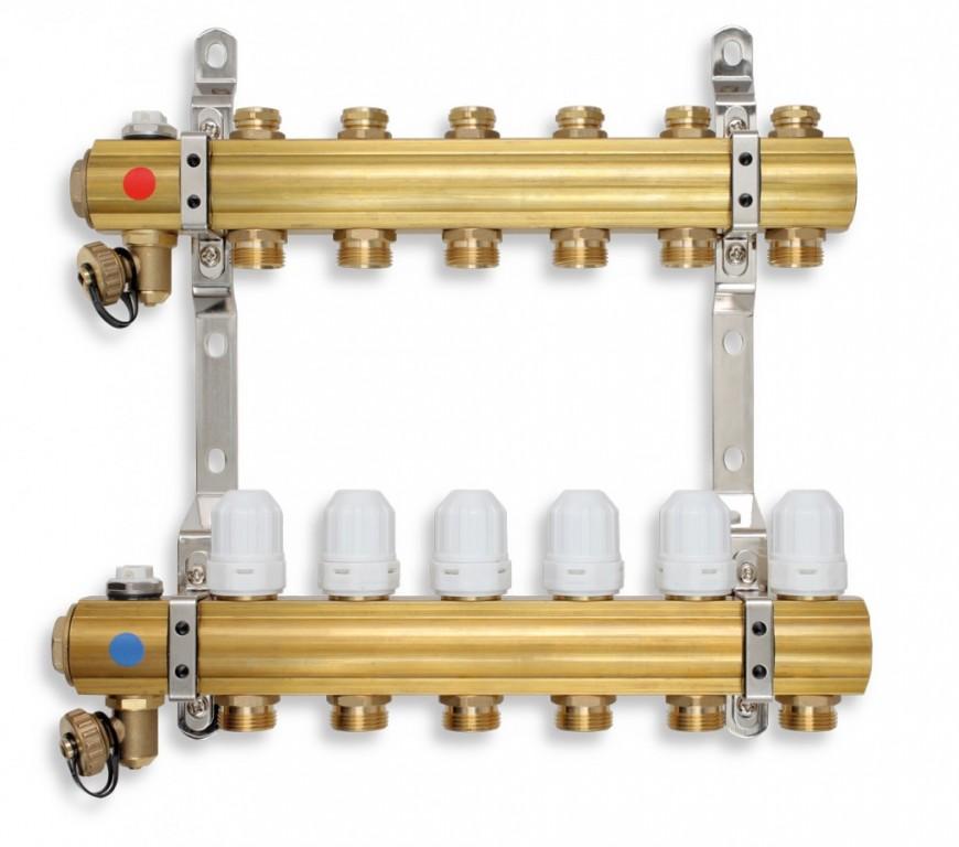 Rozdělovač s regulačními, termost. a mech. ventily 9 okruhů