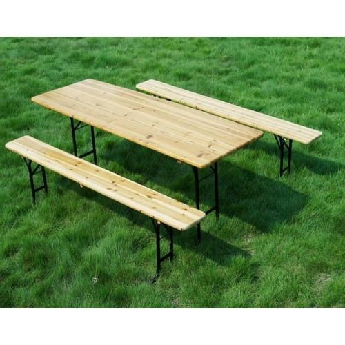 Set zahradní pivní dřevo/kov stůl + 2 lavice