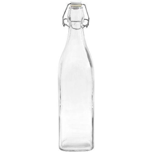 Láhev s pákovým uzávěrem 1000ml hranatá skleněná