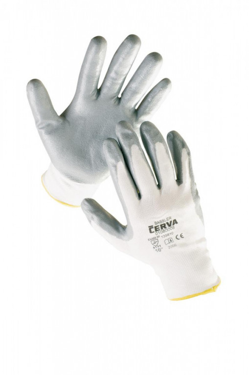BABBLER rukavice nylon. nitril. dlaň 10