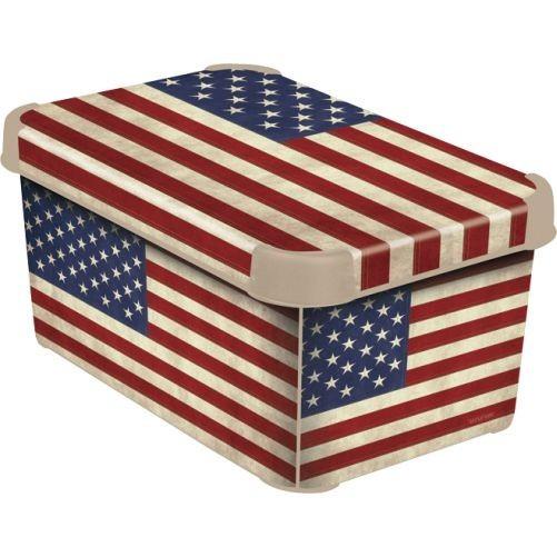 Box úložný AMERICAN FLAG 29,5x19,5x13,5cm (S) s víkem, PH