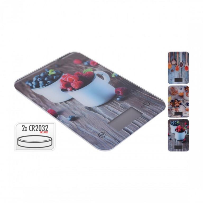 Váha kuchyňská plochá 5kg digitální, tvrz.sklo, KUCHYNĚ mix