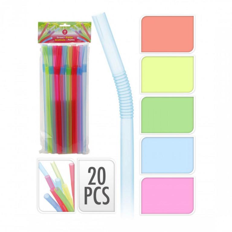 Brčka s kloubem NEON 10x260mm mix barev (20ks)