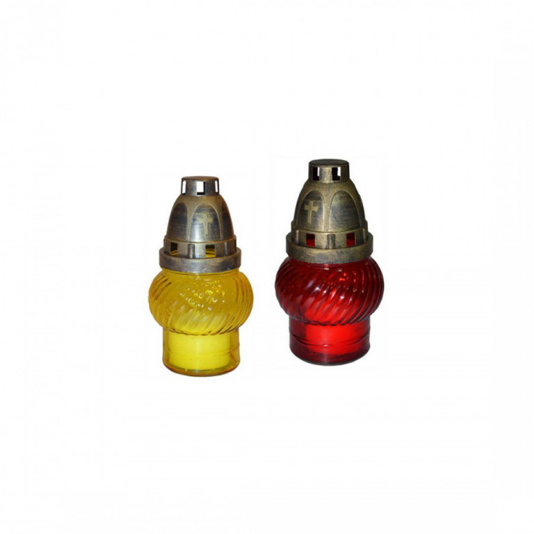 Lampa hřbitovní sklo 14cm (30g) (hoří 9hod) paraf. mix barev